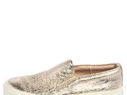 Gucci Metallic Gold Foil Leather Slip On Sneakers Size 35