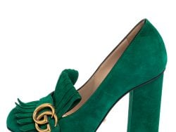 Gucci Green Suede GG Marmont Fringe Pumps Size 37