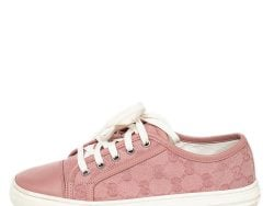 Gucci Pink GG Canvas And Leather Low Top Sneakers Size 36.5