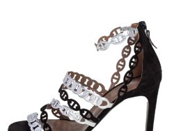 Hermes Silver/Black Suede and Leather Romy Sandals Size 38.5