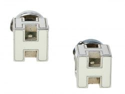 Hermes Cage d'H White Lacquer Palladium Plated Earrings