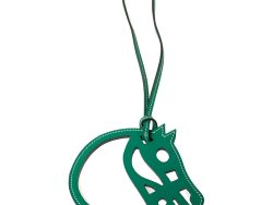 Hermes Green Leather Paddock Cheval Horse Bag Charm