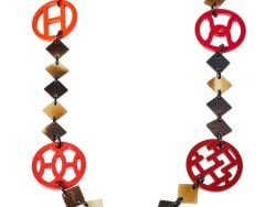 Hermès Brown Horn & Lacquered Lena Necklace