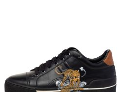 Hermes Black Leather Voltage Jungle Love Print Low Top Sneakers Size 39.5
