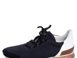Hermés Black/White Fabric And Leather Miles Low Top Sneakers Size 40