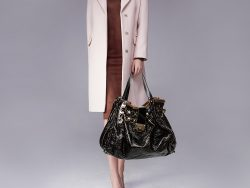 Jimmy Choo Black/Brown  Patent Leather and Shearling Ramona Shoulder Bag