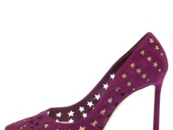 Jimmy Choo Purple Suede Cut-Out Stars Romy Pointed Toe Pumps Size 36.5