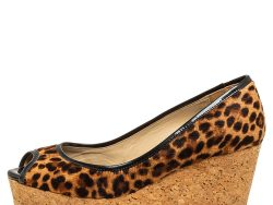 Jimmy Choo Leopard Print Calf Hair And Patent Leather Papina Peep Toe Wedge Pumps Size 38