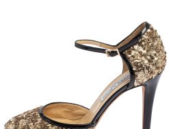 Jimmy Choo Gold Patent Leather And Sequin Tessa Ankle Strap Sandals Size 36.5