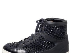 Jimmy Choo Navy Blue Leather and Suede Studded High Top Sneakers Size 37.5