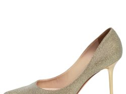 Jimmy Choo Metallic Gold Fabric Romy Pointed Toe Pumps Size 37.5