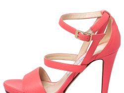 Jimmy Choo Pink Leather Dose Ankle Strap Sandals Size 37.5