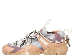 Jimmy Choo Multicolor Mesh And Suede Diamond Trial Low Top Sneakers Size 36.5