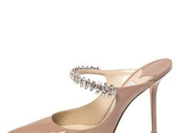 Jimmy Choo Nude Beige Patent Leather Bing Crystal Embellished Mules Size 38.5