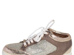 Jimmy Choo Gold Glitter and Leather Trainer Low Top Sneakers Size 36