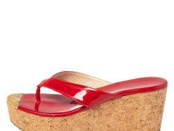 Jimmy Choo Red Patent Leather Thong Cork Wedge Sandals Size 38