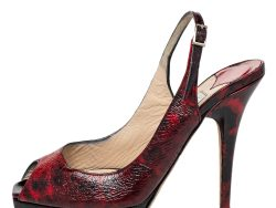Jimmy Choo Red/Black Patent Leather Clue Peep Toe Slingback Sandals Size 36.5