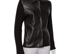 Joseph Vintage Black Leather & Rib Knit Button Front Collared Jacket M