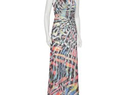 Just Cavalli Multicolor Printed Tulle One Shoulder Maxi Dress M