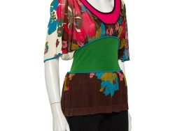 Kenzo Multicolor Floral Patterned Silk Knit Oversized Top M