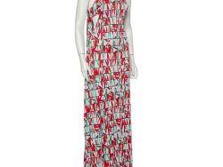 Kenzo Multicolor Block Flower Printed Jersey Overlay Detail Maxi Dress L