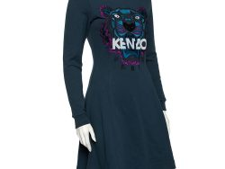 Kenzo Teal Tiger Embroidered Cotton Sweater Dress S