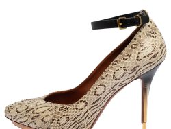 Lanvin White/Brown Snakeskin Leather Ankle Strap Pumps Size 36
