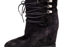 Le Silla Grey Suede Fur Detail Hidden Wedge Ankle Boots Size 37