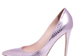 Le Silla Pink Snakeskin Embossed Patent Leather Eva Pointed Toe Pumps Size 40