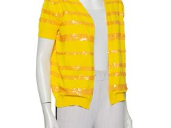 Louis Vuitton Yellow Sequin Embellished Knit Open Front Shrug M