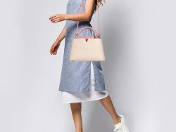 Louis Vuitton Galet/Pink Taurillon Leather Capucines MM Bag