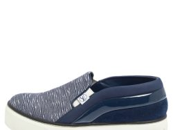 Louis Vuitton Blue Printed Canvas and Leather Slip On Sneakers Size 35.5
