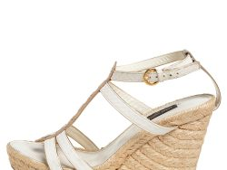 Louis Vuitton White/Gold Monogram Leather and Python Bahamas T-Strap Espadrille Wedge Sandals Size 37.5