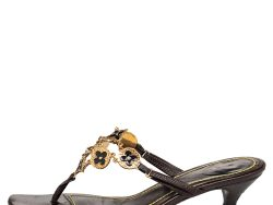 Louis Vuitton Brown Leather LV Charms Thong Sandals Size 40.5