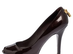 Louis Vuitton Burgundy Patent Leather Oh Really! Peep Toe Pumps Size 37.5