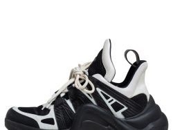 Louis Vuitton White/Black Leather And Mesh Archlight Sneakers Size 39