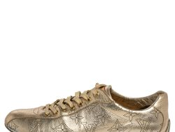 Louis Vuitton Gold Perforated Monogram Leather Low Top Sneakers Size 36
