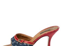 Louis Vuitton Blue/Red Monogram Denim And Leather Sandals Size 38.5