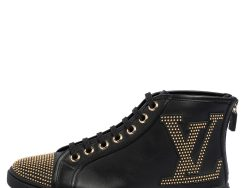 Louis Vuitton Black Leather Studded Punchy High Top Sneakers Size 37