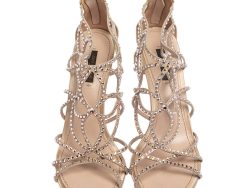 and  Suede Crystal Embellished Cut Out Sandals Size 39