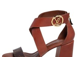 Louis Vuitton Brown Monogram Canvas and Leather Ocean Drive Ankle Strap Sandals Size 39