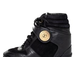 Louis Vuitton Black Epi Leather And Suede Wedge Sneakers Size 36