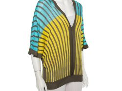 M Missoni Tricolor Striped Perforated Knit Oversized Top L