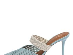 Malone Souliers Blue Perforated Leather and Canvas Maisie Pointed Toe Mules Size 40