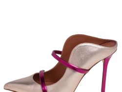 Malone Souliers Pink/Gold Leather Maureen Mule Sandals Size 36