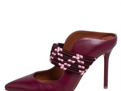 Malone Souliers Burgundy Leather Mara Mule Sandals Size 36