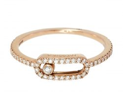 Messika Move Uno Pave Diamond 18K Rose Gold Ring Size 52
