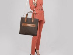 Michael Kors Brown/Tan Signature Coated Canvas and Leather Kenly Shopper Tote