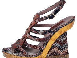 Missoni Multicolor Fabric and Leather Wedge Platform Sandals Size 38