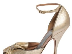 Missoni Gold Leather Peep Toe Ankle Sandals Size 37
